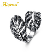 Size 6-8 Fashion Jewelry Retro 18K White Gold Plated Black Rhinestones Leaf Ring For Women