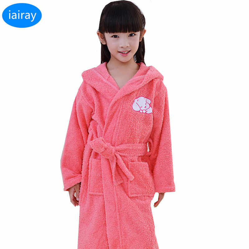 a794f5860c iAiRAY 100% cotton children bathrobe kids towel bathrobe for girls pajamas  child sleepwear for girl