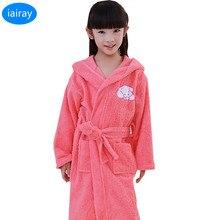 Купить с кэшбэком iAiRAY 100% cotton children bathrobe kids towel bathrobe for girls pajamas child sleepwear for girl autumn winter pyjamas boys