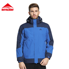 ROYALWA 2Pieces Hiking Jackets Men Waterproof Windproof Warm Hiking Outdoor Camping Jackets Thermal 2017 New Arrival #ROM5296D