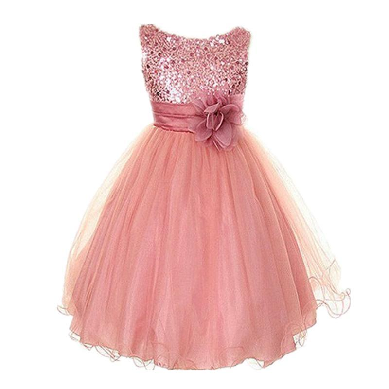 цены New Kids Girls Birthday Girl Dress Cute Sequin Sleeveless Vest Princess Lace Dress 11 color Baby Dresses For Girls Vestido