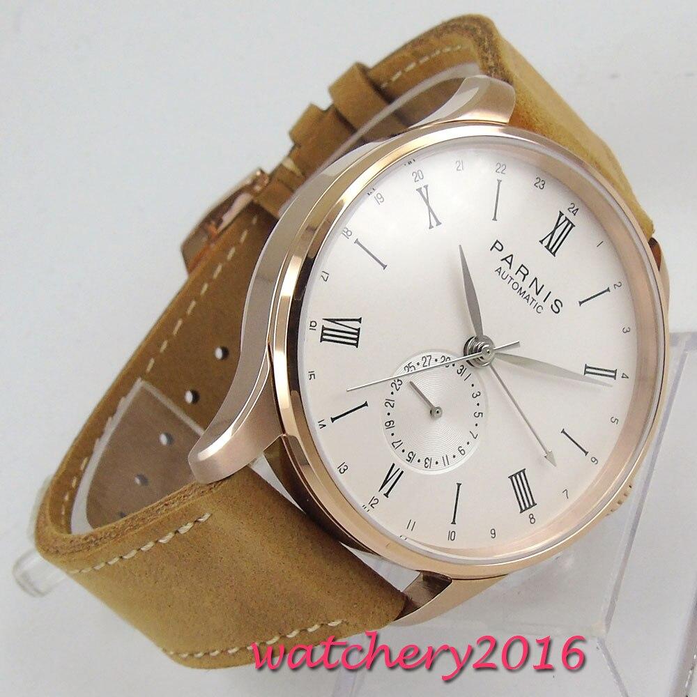2019 New Arrival 42mm PARNIS biała tarcza cyframi rzymskimi SS Case klasyczny Top marka luksusowe ST automatyczny ruch mężczyźni zegarki damskie w Zegarki mechaniczne od Zegarki na  Grupa 2