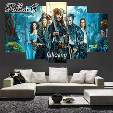 FULLCANG Diamond Embroidery Movie Pirates of Caribbean Diy 5PCS Painting Cross Stitch Full Square Mosaic G215