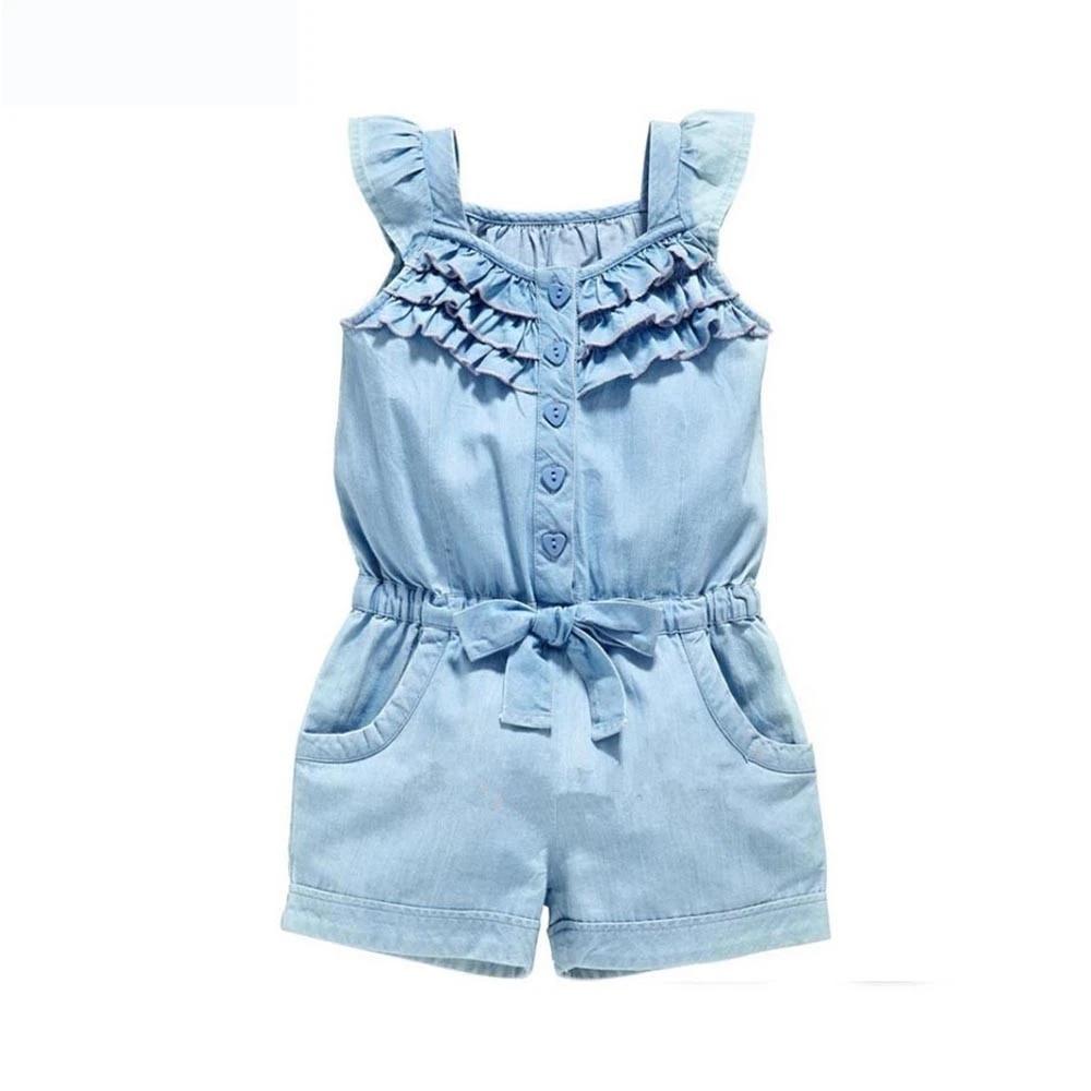 Infant Baby Girls Jeans Denim Hooded Jumpsuits Sleeveless Animal Pattern Romper