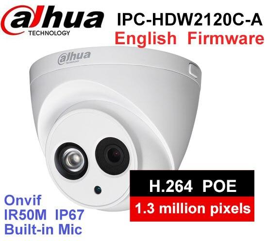 Dahua IPC-HDW2120C-A Built-in MIC IP67 1.3MP IR 50m network IP Camera security cctv Dome Camera DH-IPC-HDW2120C-A support POE original dahua dh ipc ebw81200 12mp ultra hd metal waterproof shell ir network fisheye camera ip67 ipc ebw81200