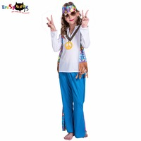 Eraspooky Halloween Costume For Kids Girls 2018 New Flower Power Girl Hippie Costume Girl For 4