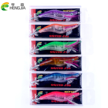3pcs/lot Luminous Shrimp Fishing Lures Plastic Box Package 10.5cm 17g Artificial Bait For Squid Fake Lure HJ088