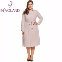 IN VOLAND Women Dress Plus Size Spring Autumn Turn Down Collar Long Sleeve Bow Belted Button