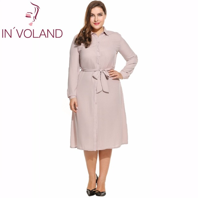 US $16.97 40% OFF|IN\'VOLAND Women Dress Plus Size Spring Autumn Turn Down  Collar Long Sleeve Bow Belted Button Down Dresses Vestidos Oversized 4XL-in  ...