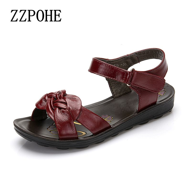 ZZPOHE 2017 summer new leather soft sandals middle-aged mother fashion flat sandals non-slip comfortable women's shoes size 41 486299 001 motherboard tested by system lap connect board