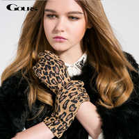 Gours Fall and Winter Women Genuine Leather Gloves Fashion New Brand Goatskin Mittens Casual Driving Leopard Print GSL004