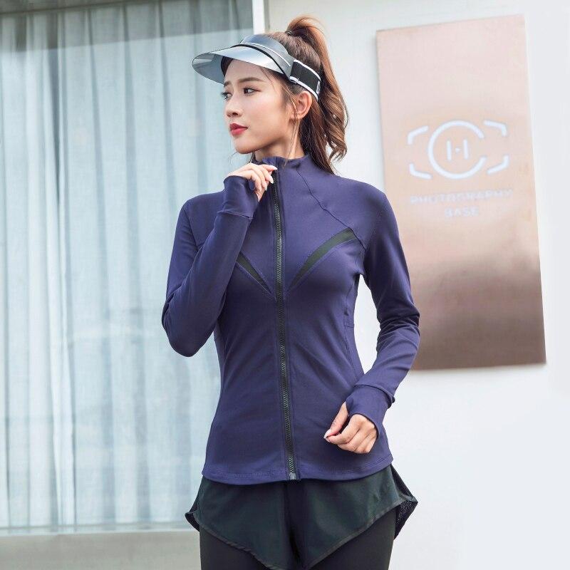 נשים של ארוך שרוול מעיל מהיר יבש דק יוגה חולצה עם אגודל חור נשי ריצת תרגיל כושר בגדי טניס חולצה מעיל