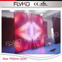 Pixel 50mm black velvet wall media display video cloth soft flexible led wall stage curtain 10ft x 10ft bar decoration