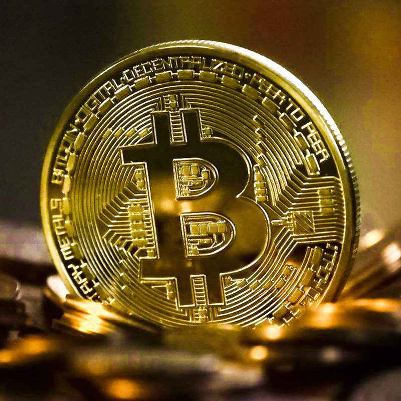 Gold Plated Physical Bitcoins Bit Coin BTC With Case Gift Physical Metal Antique Imitation BTC Coin Art Collection