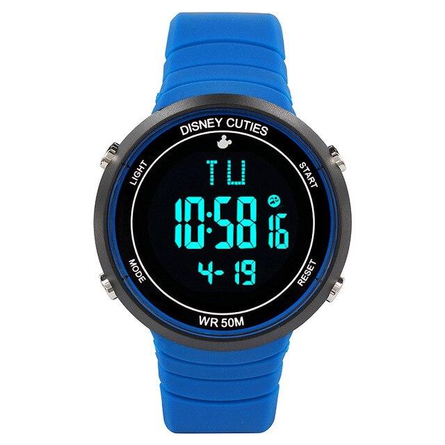 Disney бренда Микки Дети 50 м водонепроницаемый плавание Цифровые Наручные Часы мальчики девочки календарь будильник Световой Ремень смотреть