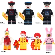 Single Zombie Halloween Chicken Guy Ronald McDonald Cute Rabbit Funny Bunny Figures building blocks toys for children kits