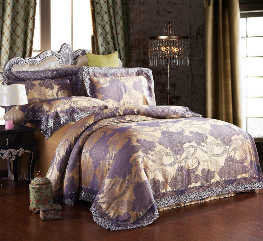 Modal luxury jacquard bedding set bed linen western for Western style beds