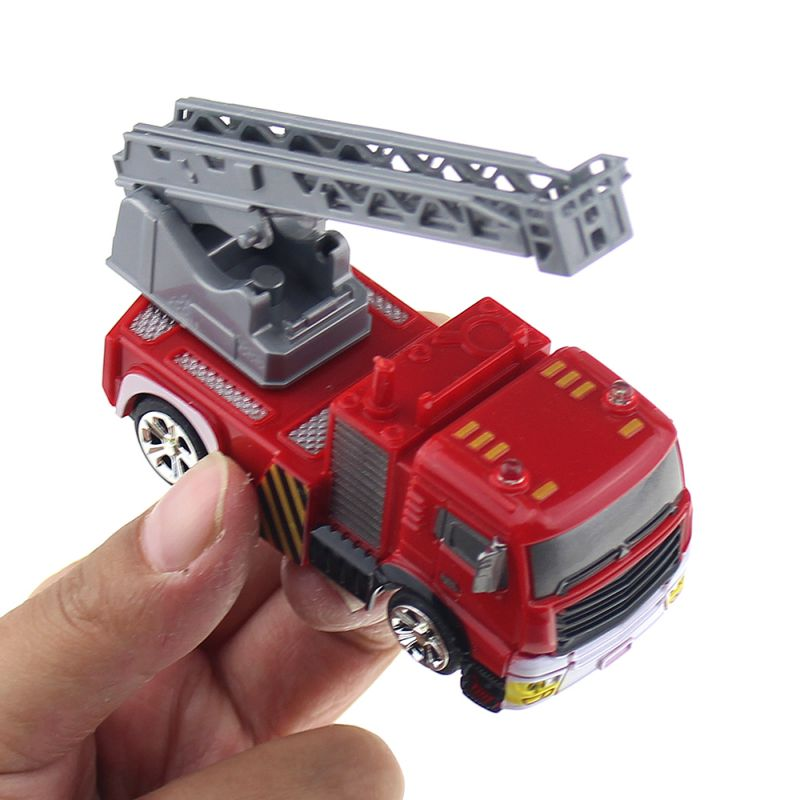 4CH Mini Remote Control Vehicle RC Car Turntable Ladder Truck Electric Model Toy Fire Extinguisher Tank Package Kids Gift