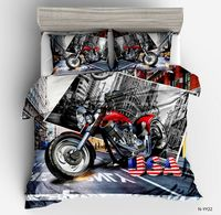 3D Motorcycle Bedding Sets New Fashion Boy Car Duvet Cover Sets Twin Full Queen King Size