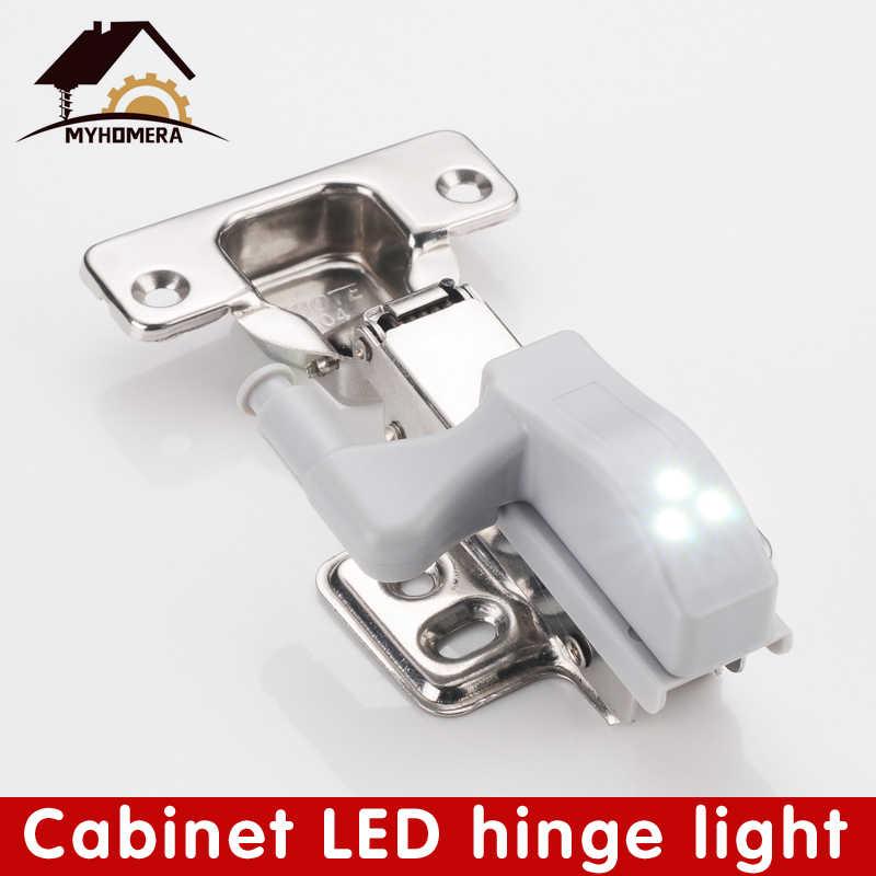 Myhomera 4 個 LED キャビネットヒンジセンサーライトワードランプ夜の下でインナー食器棚電球キッチン照明 0.3 ワット