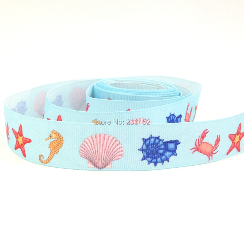 7 8 22mm Sea Animals Shell Starfish Sea Horse Print Grosgrain Ribbon Webbing Print Ribbon for