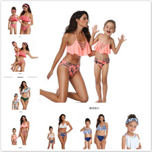 цены на 2019 Family Matching Outfits Swimsuit Printing piece double lotus leaf Parent-Child Swimwear Mother and Daughter Swimsuit в интернет-магазинах