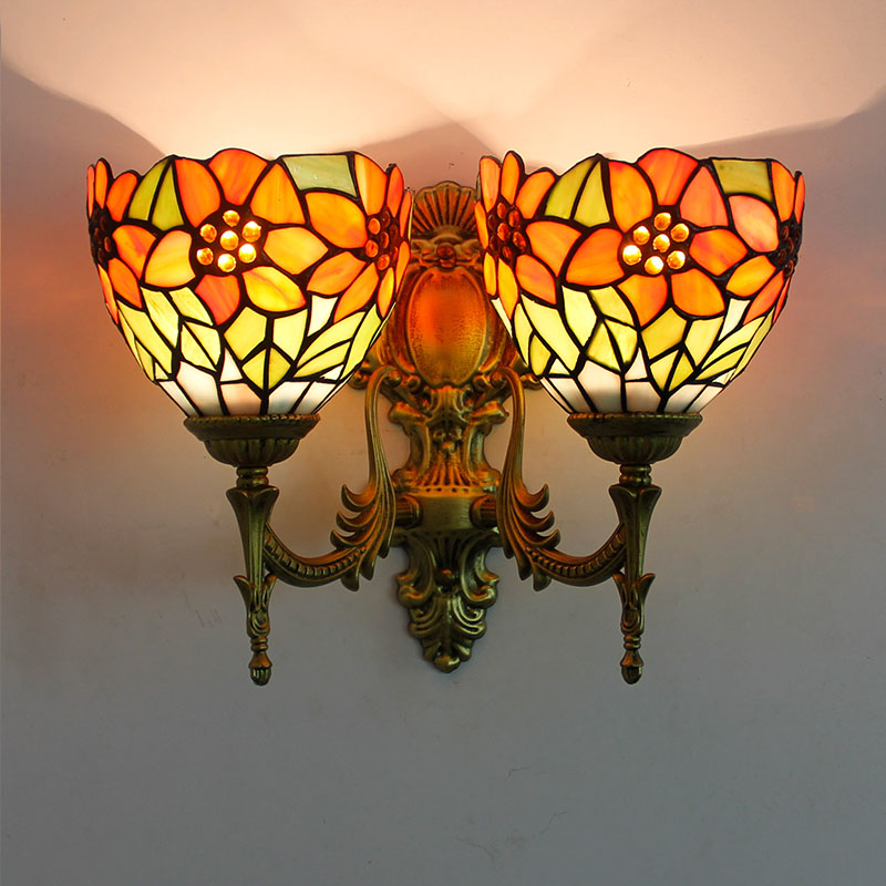 Artpad Colorful Butterfly Glass Wall Mounted Lamp Romantic Up Down Double Head Sconces Bathroom Mirror Bedside Aisle Lighting