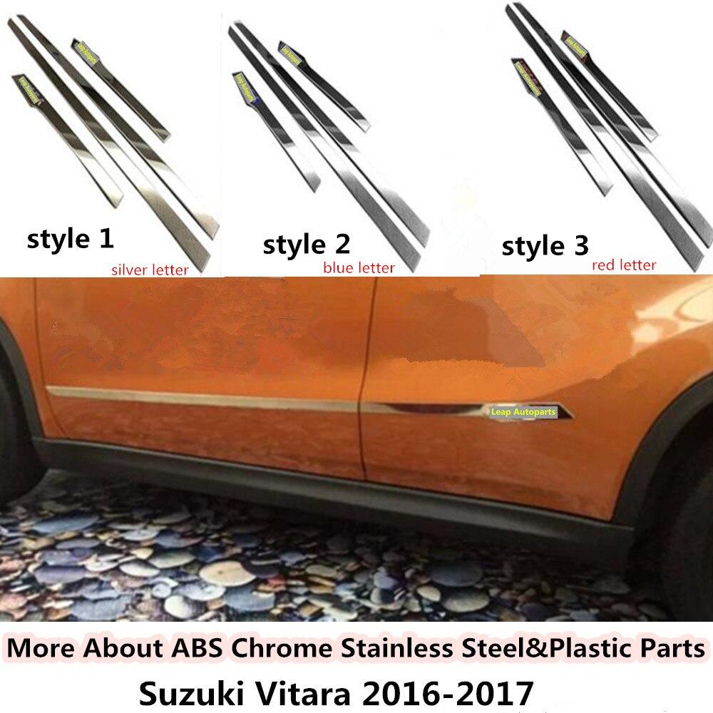 for Suzuki Vitara 2016 2017 2018 car styling cover detector stainless steel Side Door Body trim sticks Strips Molding 4pcs