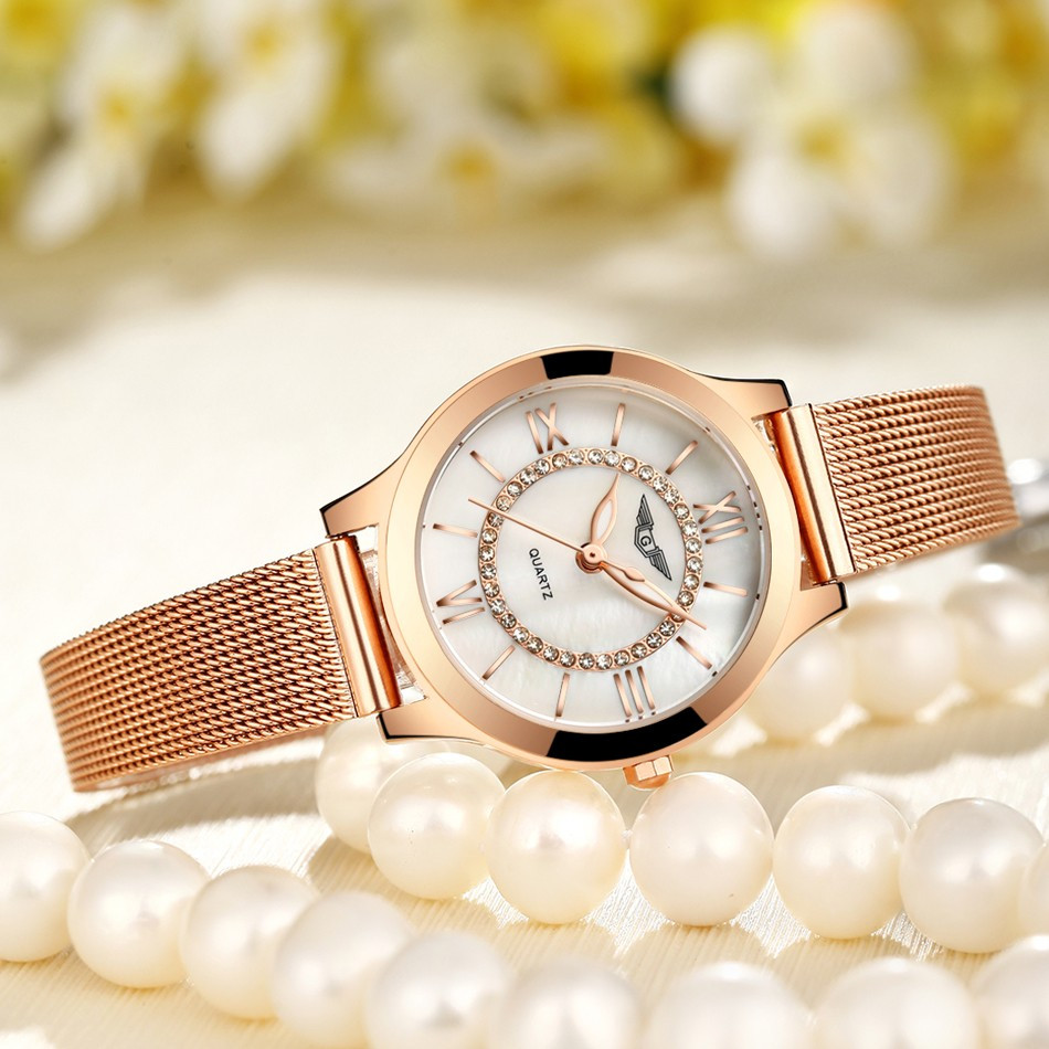 GUANQIN Women Watches Fashion Casual Quartz Watch Gold Women Bracelet Watch Stainless Steel Strap relogio feminino famous brand  (9)