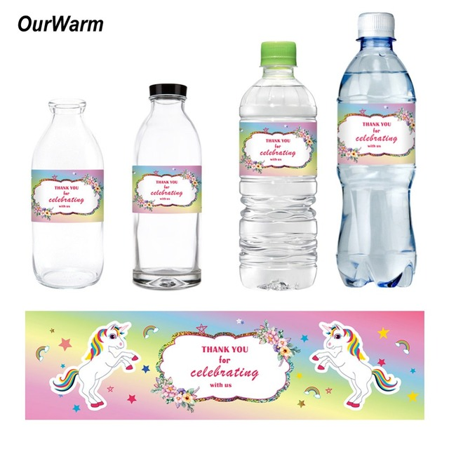 20bfd4ac6b7 OurWarm 24pcs Unicorn Theme Water Bottle Labels Baby Shower Decorations  Kids Birthday Party Supplies Magic Dreamy