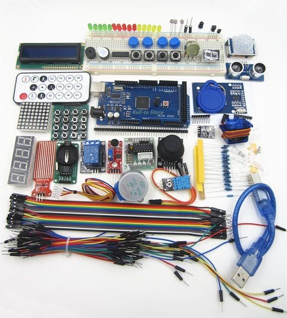 100% nova mega 2560 r3 starter kit servo motor RFID Ultrasonic Variando LCD relé para arduino