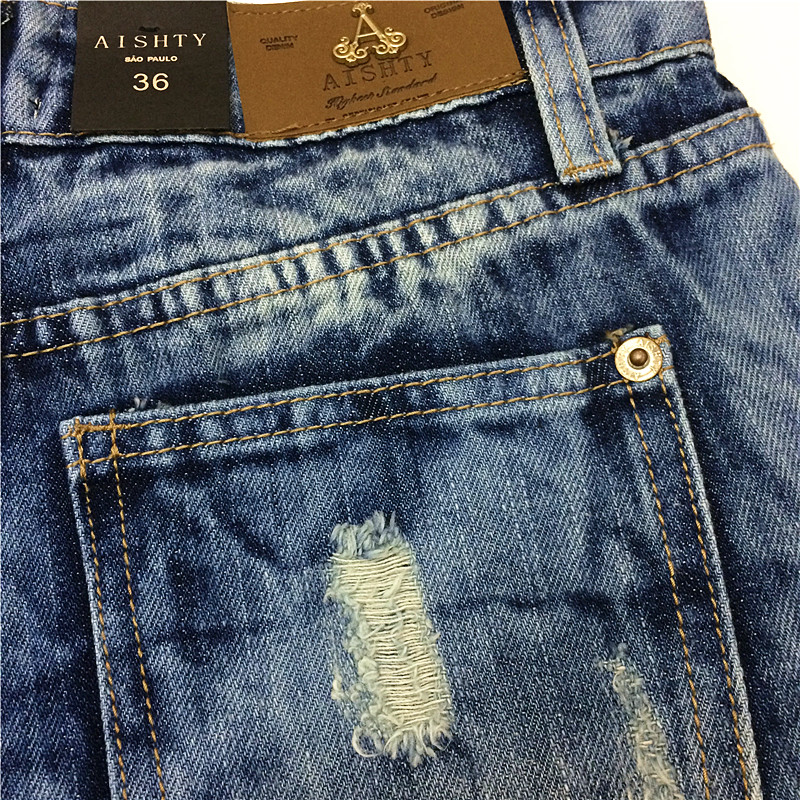 2014 Destroyed Dirty Ripped Distress Jeans-Shorts mit hoher Taille - Damenbekleidung - Foto 3