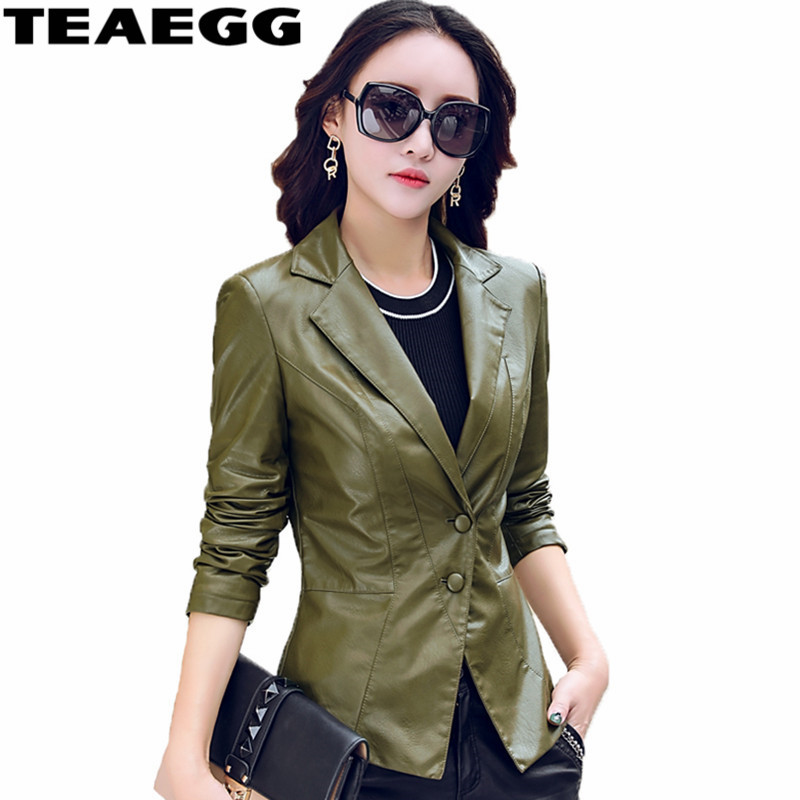TEAEGG Slim Dark Green Faux Women Leather Jacket Clothing Jaqueta De Couro Feminina Spring Autumn Pu Womens Leather JacketsAL675