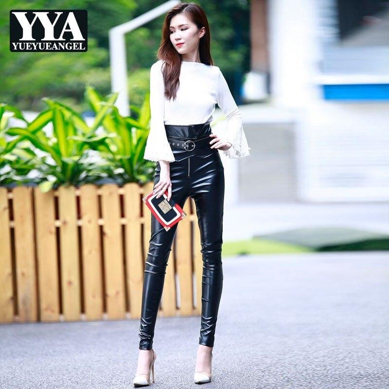 Femmes taille haute Faux cuir pantalon 2019 nouveau automne Skinny PU crayon pantalon dames Streetwear Sexy Slim noir en cuir pantalon