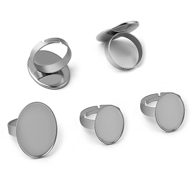 10pcs Oval Blank Base Rings Settings Stainless Steel Ring Cabochon Bases Bezel Tray Fit 13x18mm Cabochon Cameo DIY Ring Findings in Jewelry Findings Components from Jewelry Accessories