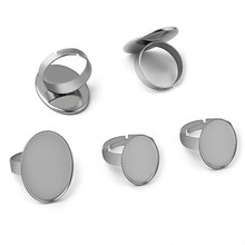 10pcs Oval Blank Base Rings Settings Stainless Steel Ring Cabochon Bases Bezel Tray Fit 13x18mm Cabochon Cameo DIY Ring Findings mibrow 10pcs lot stainless steel 8 10 12 14 16 18 20mm blank french lever earring tray cabochon setting cameo base jewelry
