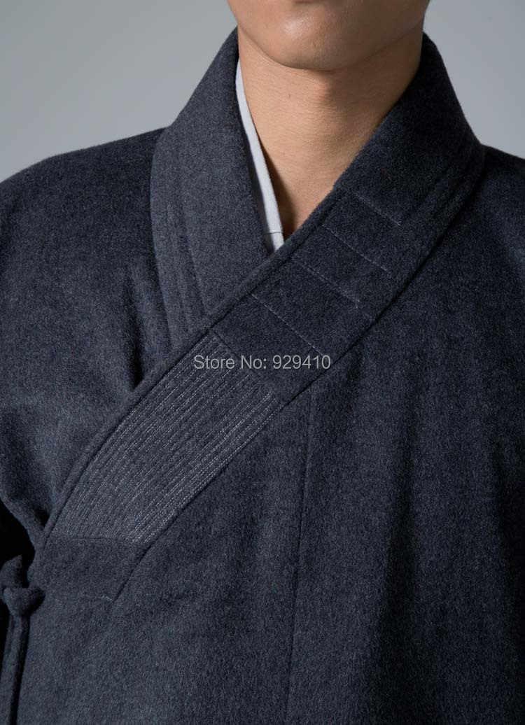 禅僧侶スーツ冬ウールコート仏教少林寺僧侶robekungフー武道gownsuits制服ダークグレー服YX1-44