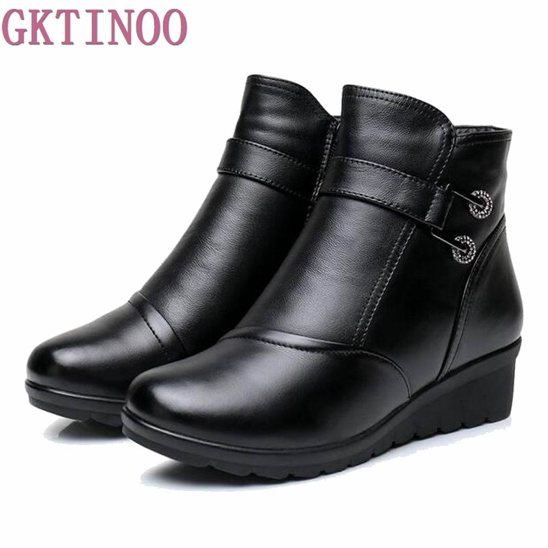 2018 Snow boots shoes women genuine leather large yard winter boots women boots warm plush winter shoes Big Size 35-41 Black women snow boots large size 35 45 winter boots shoes super warm plush ankle boots women platform winter boat fashion women shoes