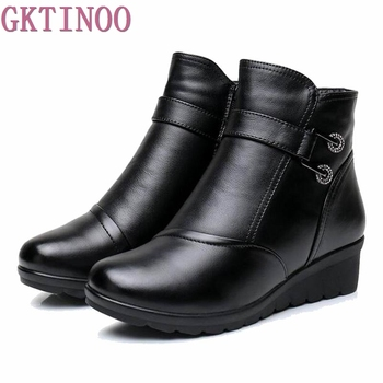 цена 2020 Snow boots shoes women genuine leather large yard winter boots women boots warm plush winter shoes Big Size 35-41 Black онлайн в 2017 году