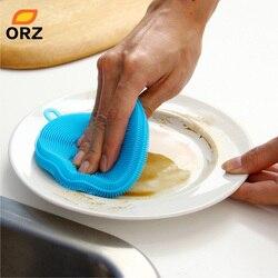 Orz escova de silicone prato mágico tigela pote pan lavagem escovas de limpeza ferramenta de cozinha mais limpa esponjas limpeza almofadas acessórios da cozinha