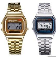fe8c14fd68d Coperation negócios de Ouro Relógio de Ouro Do Vintage Mulheres Homens  Vestido de Aço Inoxidável LED