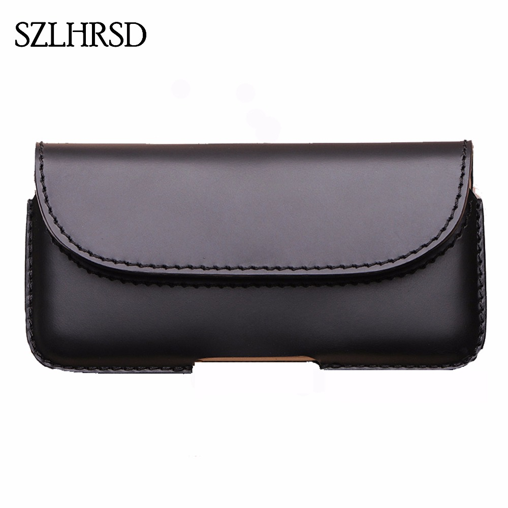SZLHRSD Men Belt Clip Genuine Leather Pouch Waist Bag For Huawei Honor 10 GT Zoji Z9 Phone Cover Elephone A2 Pro Cases Black