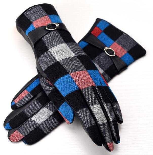 Autumn Winter Women's Thicken Warm Fleece Lining Plaid Wool Gloves Female Natural Sheepskin Leather Checked Driving Glove R904