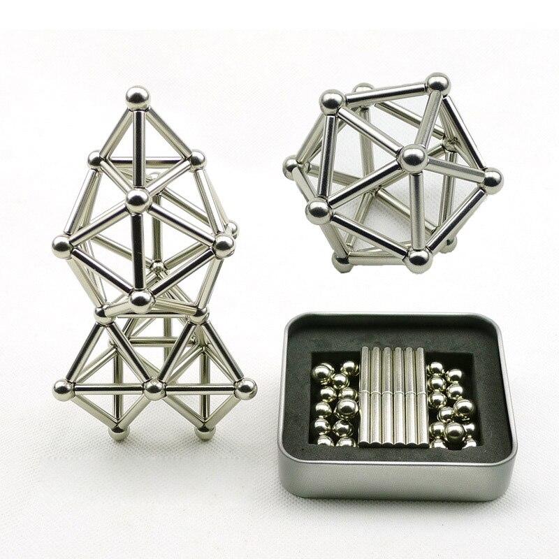 36 pièces Bâtons Magnétiques et 27 pièces En Acier Boules jouets pour détente Enfants Adultes Innovant Constructeur Modèles De Construction Intellectuelle Jouet TY0325