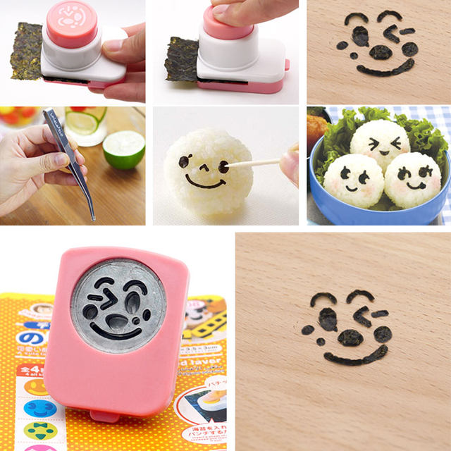 Laver Seaweed Sushi Bento Mold Embossed Children 's Rice Balls Cartoon Variety Of Expression Mold Baby Meal Kitchen Gadget (7)