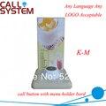 Botón de Llamada inalámbrico K-M con el titular de menú, 1-key para LLAMAR y más barata para el restaurante