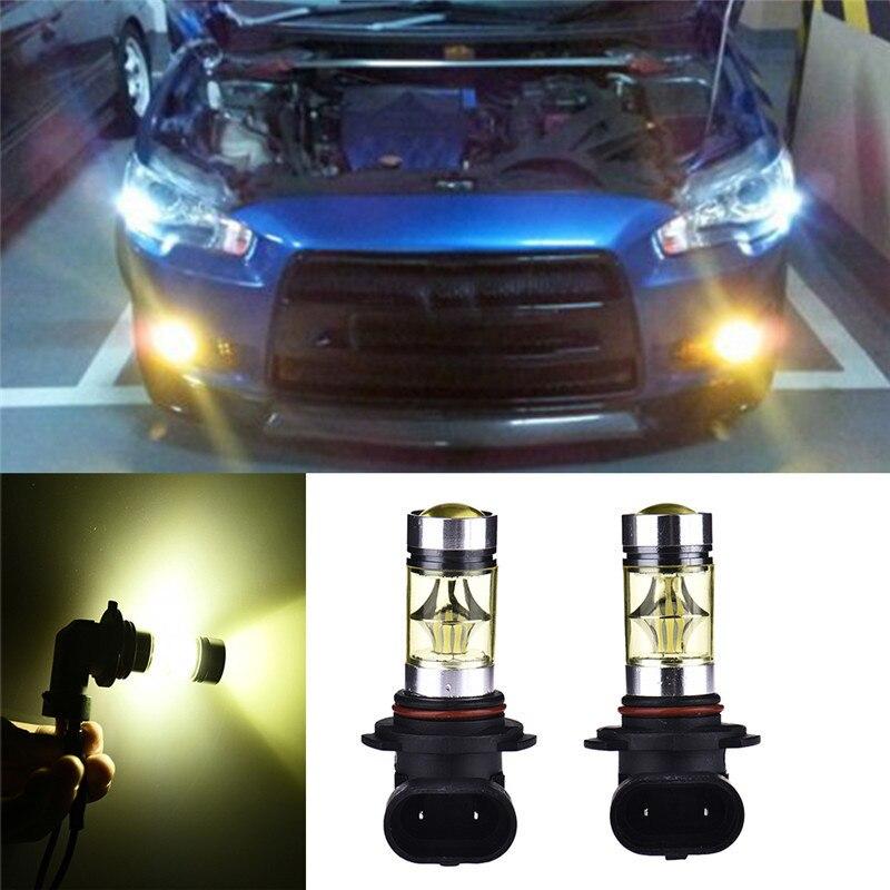 2Pcs Car LED Fog Bulb 9005/HB3 9006/HB4 100W 20 LED Yellow Lights Fog-proof Car Daytime Driving Lights Car LED Fog Lights коляска marimex armel красный графит принт цветы