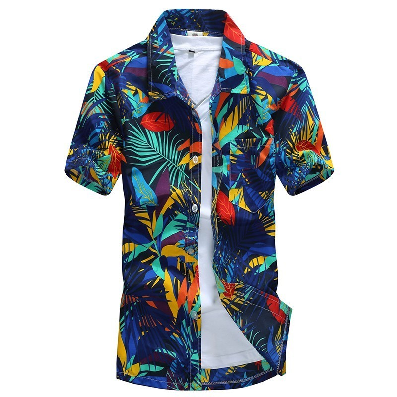 Men Hawaiian Shirts Male Casual Camisa Masculina Tropical Printed Beach Shirts Short Sleeve 2018 New Fashion Asian Size M-5XL