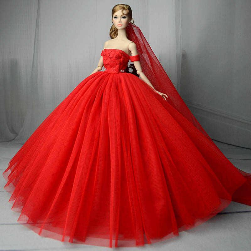 Vestido De Novia Rojo Para Muñeca Barbie Princesa Vestido De Fiesta De Noche Ropa Usa Trajes De Vestido Largo Con Velo 16 Accesorios De Muñeca