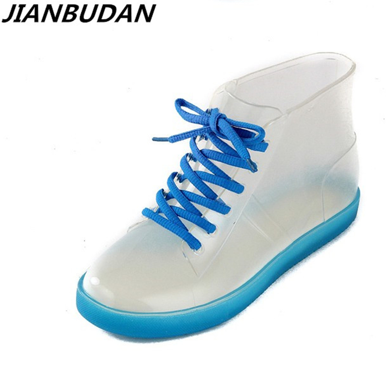 JIANBUDAN Rain boots women with short boots new 2018 transparent waterproof boots ms antiskid rubber boots size 35-39 футболка с украшением 55% льна